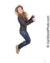 Jumping girl with thumbs up