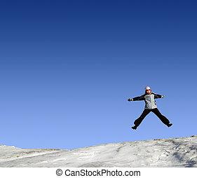 Jumping girls in winter