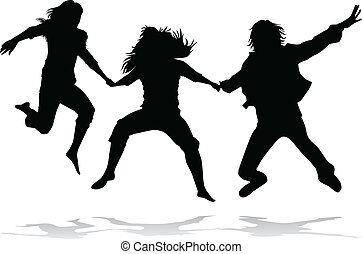 Jumping girls silhouette - vector