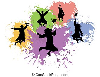 Jumping graduates student in mantles and academic square caps, silhouettes of background of colorful blots. Vector illustration.