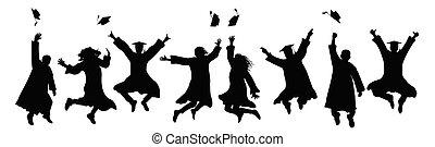 Jumping graduates throw square academic caps. Silhouette of graduation. Vector illustration.