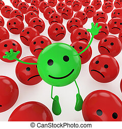 A green smiley happy jumping among many sad red others as concept for unique, optimistic, hapiness, difference.