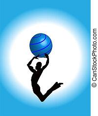Jumping Guy dancing bouncing high silhouette