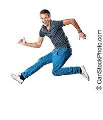 jumping., hübsch, mann