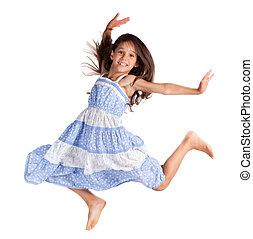 Jumping happy girl