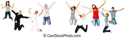 Jumping happy people