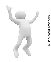 jumping happy person on white background. Isolated 3D image