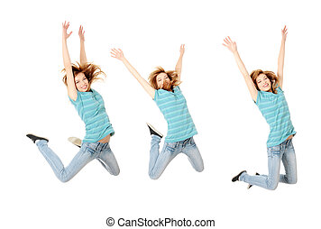 Jumping happy teen girl