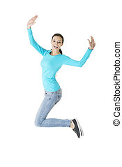 Jumping happy young woman