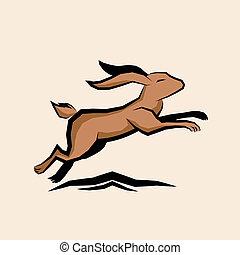Jumping Hare Vector illustration.
