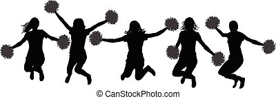 (jumping, illustration., isolated., cheerleaders, filles, silhouettes, vecteur, pompoms)