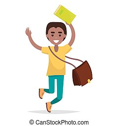 Jumping Indian Boy Student with Book Vector
