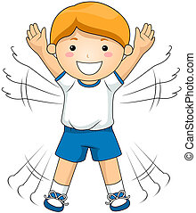 Jumping Jacks - Boy doing Jumping Jacks with Clipping Path