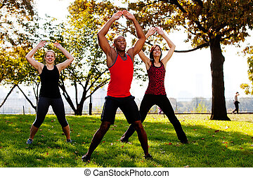 Jumping Jacks - A group of people doing jumping jacks in the...
