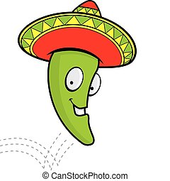 Jumping Jalapeno - A cartoon smiling jalapeno with a...