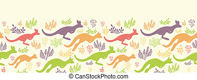 Jumping kangaroo vector horizontal seamless pattern border -...