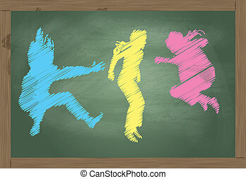 Jumping kids blackboard made of colorful chalk vector