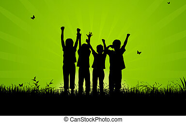 High resolution graphic of happy, jumping kids.