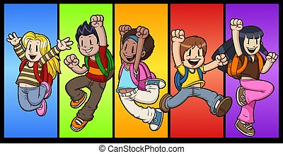 Jumping cartoon school kids. Vector clip art illustration with simple gradients. Each on a separate layer.