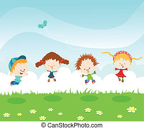 Jumping Kids - Kids Jumping On The Grass