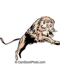 Jumping lion