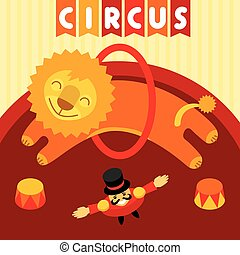 Jumping lion in circus. Animal trainer and lion jumping in circus over the ring.