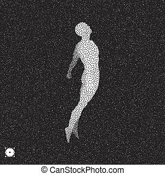Jumping man. 3D model of man. Black and white grainy dotwork...