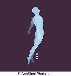 Jumping Man. 3D Model of Man. Human Body. Sport Symbol. Design Element.