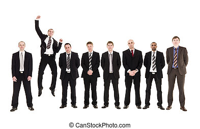 Jumping man in a row with other men