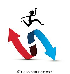 Jumping Man Silhouette Over Double Red and Blue Arrow Isolated on White Background