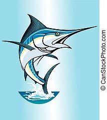 Jumping Marlin in Blue.eps