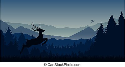 jumping moose in wildlife on blue mountain and forest landscape