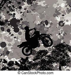 Jumping motorcycle rider