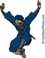 Jumping Ninja - Isolated image of single leaping ninja.