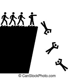 Jumping off a cliff - Concept illustration showing a person...