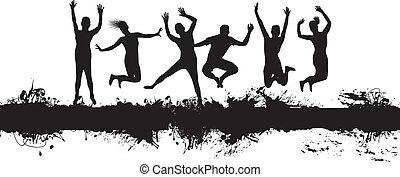 jumping on a splash banner