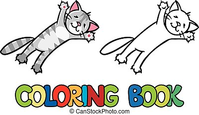 Jumping or flying cat. Coloring book