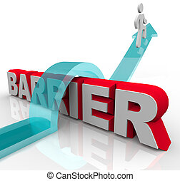 A man rides a rising arrow over the word Barrier, symbolizing the ability to overcome an obstacle on the way to success