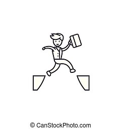 jumping over vector line icon, sign, illustration on background, editable strokes