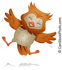 Jumping Owl - A Cute Owl Jumping Happily While Flapping His...