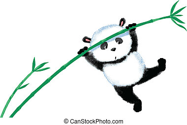 Jumping Panda on bamboo - Two panda jumping on bamboo, blown...