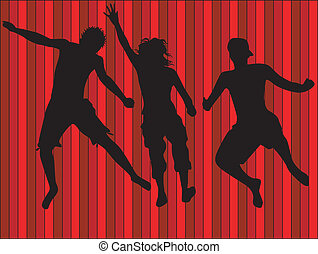 Jumping people - colour illustration