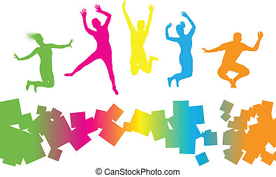 jumping people  -  colourful jumping people