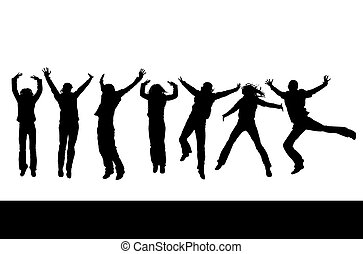 jumping people - silhouettes of people jumping up in the air