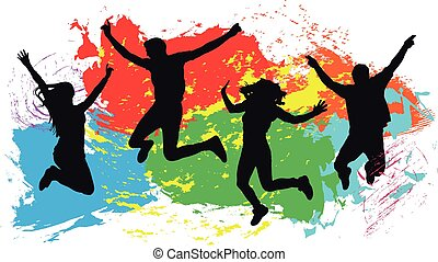 Jumping people friends silhouette, colorful bright ink splashes background
