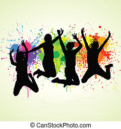Jumping People - Vector jumping people on splattered paint....