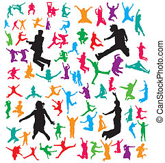 Vector jumping people's silhouettes collection.