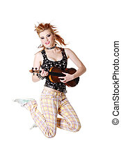 Jumping punk girl with fiddle.