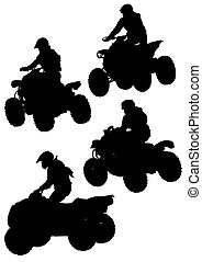Jumping quad - Silhouettes athletes ATV during races