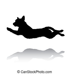 Jumping retriever - Illustration with silhouette of dog